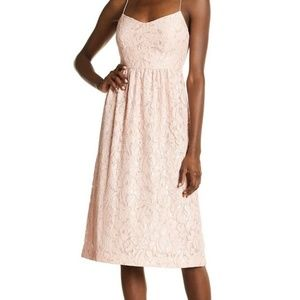Cynthia Steffe Pink Lace Sweetheart Midi Dress